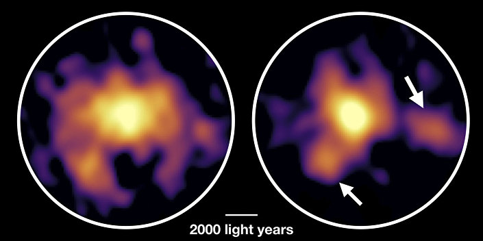 Imagens da galáxia COSMOS-AzTEC- 1 tiradas com o telescópio ALMA