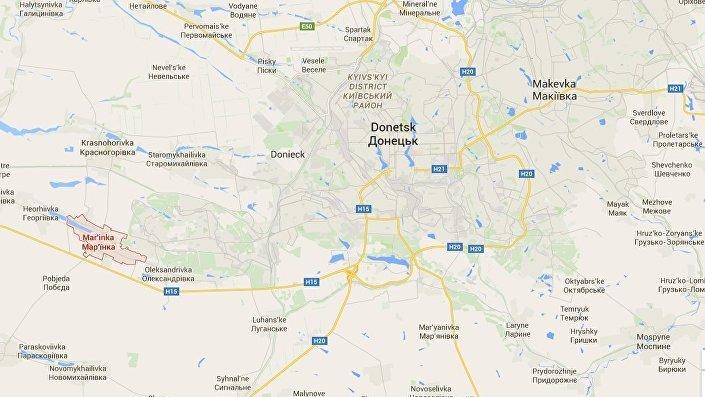 Marinka no mapa da Ucrânia