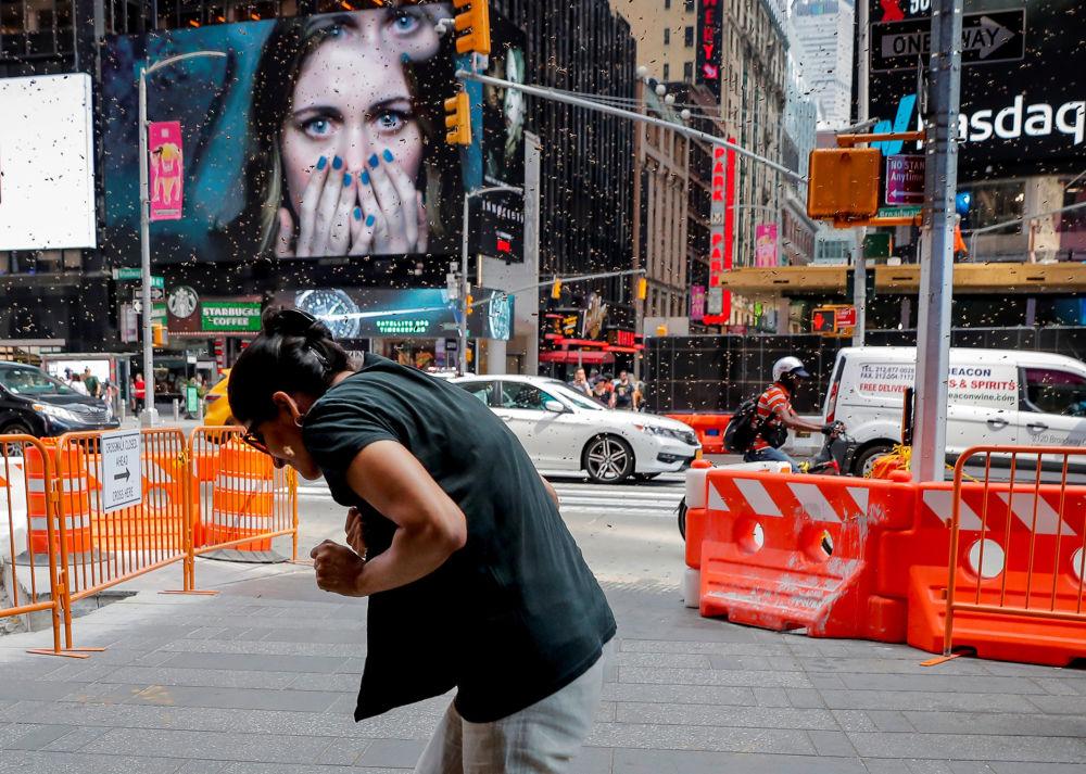 Mulher é atacada por enxame de vespas na praça Times Square em Nova York, nos EUA
