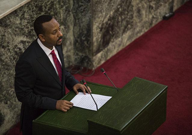 Abiy Ahmed tomando posse como primeiro-ministro da Etiópia.