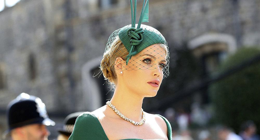 Lady Kitty Spencer, sobrinha da princesa Diana, no casamento real do príncipe Harry e Meghan Markle