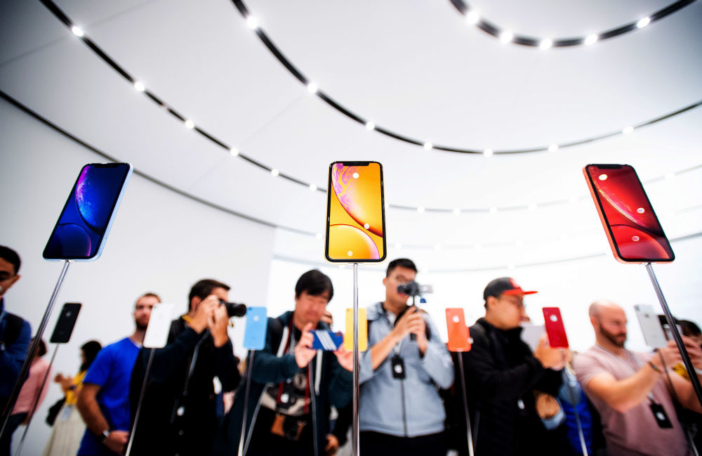 Visitantes durante a apresentação dos novos modelos do iPhone Xr em Cupertino, nos Estados Unidos