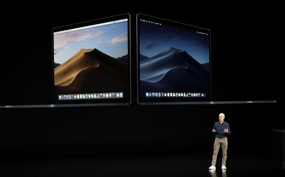 Presidente-executivo da Apple, Tim Cook, fala sobre novo MacBook no teatro Steve Jobs durante lançamento dos novos produtos da Apple, 12 de setembro