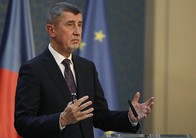 Czech Republic's Prime Minister Andrej Babis gestures during a press conference in Prague, Czech Republic, Monday, March 26, 2018. Babis said that the country is expelling three staffers from the Russian embassy as part of a coordinated European effort to the poisoning of a former Russian double agent and his daughter in Britain. (AP Photo/Petr David Josek)