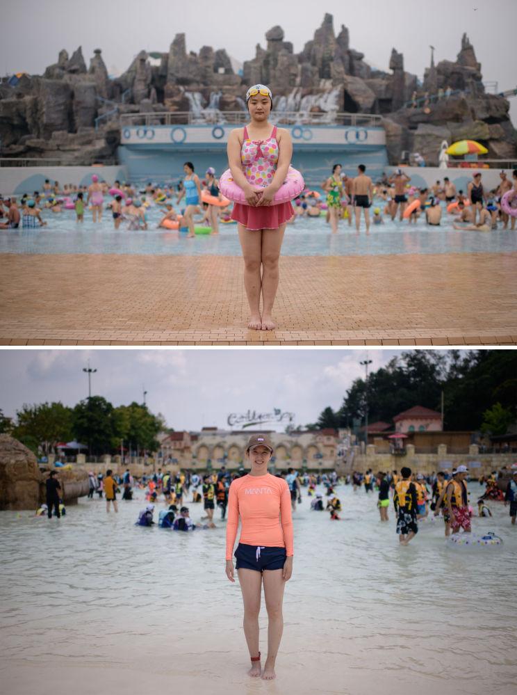 Turistas no parque aquático em Pyongyang (Coreia do Norte) e no parque aquático Carribean Bay ao sul de Seul (Coreia do Sul)