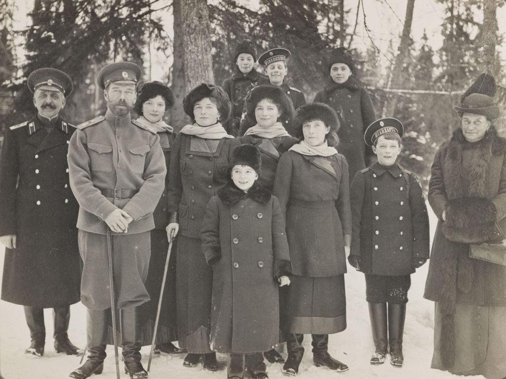A família imperial em Tsarskoe Selo (Vila do Czar), 1915