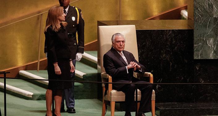 Michel Temer, presidente do Brasil, na abertura da 73ª Assembleia Geral das Nações Unidas, em Nova York