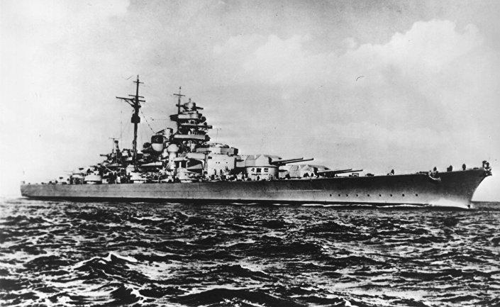 Imagem mostra o encouraçado alemão Bismarck