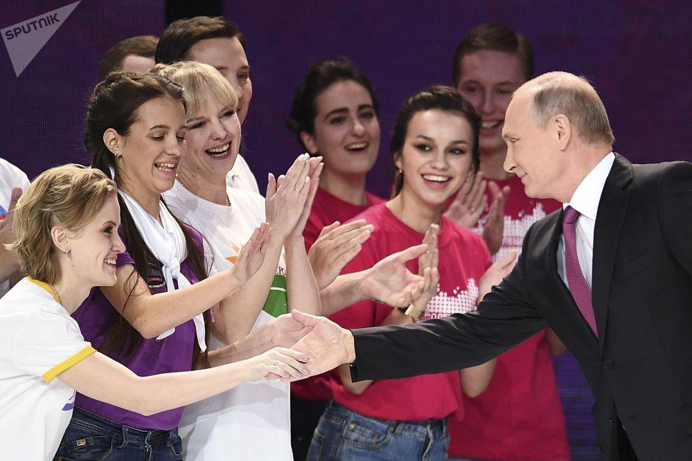 O presidente russo durante a cerimônia de condecoração do Voluntário da Rússia 2017 em Moscou, 6 de dezembro de 20187