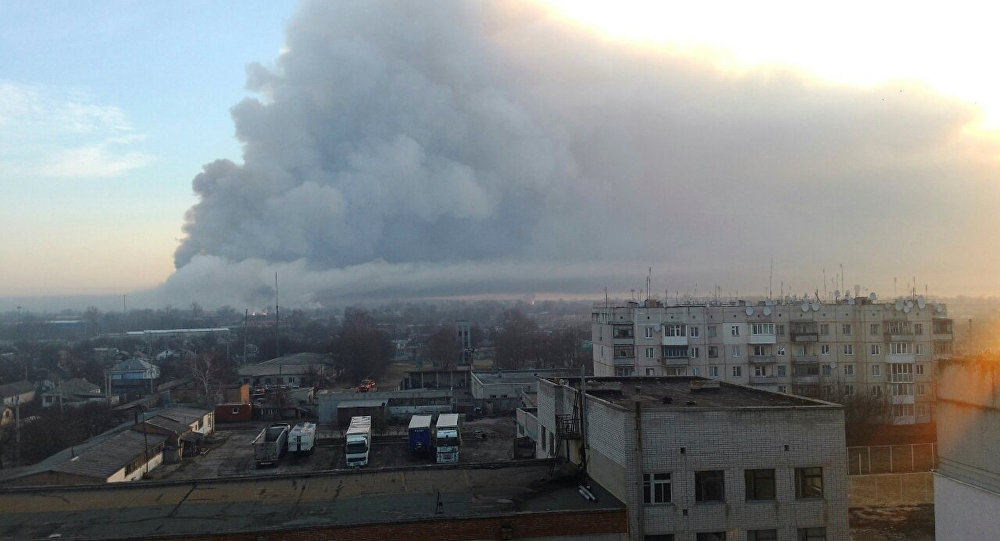 Explosão que ocorreu em um depósito militar na região de Chernigov, na Ucrânia.