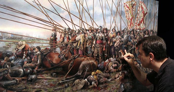 """O pintor espanhol Augusto Ferrer-Dalmau pinta o quadro """"'Rocroi, o último terço"""" (2011)"""