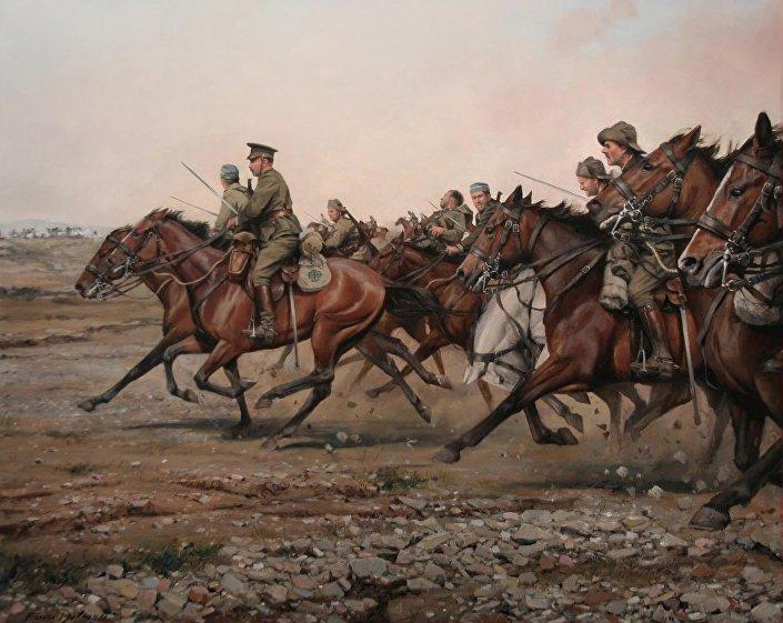 """""""Carga no rio Igan do regimento Alcântara"""" (2013), obra de Ferrer-Dalmau"""