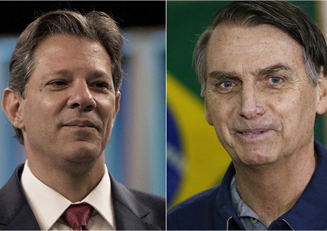 Fernando Haddad (à esquerda) e Jair Bolsonaro (à direita) disputam o segundo turno das eleições presidenciais no Brasil em 2018