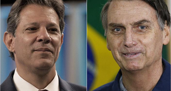 Fernando Haddad (à direita) e Jair Bolsonaro (à esquerda) disputam o segundo turno das eleições presidenciais no Brasil em 2018.