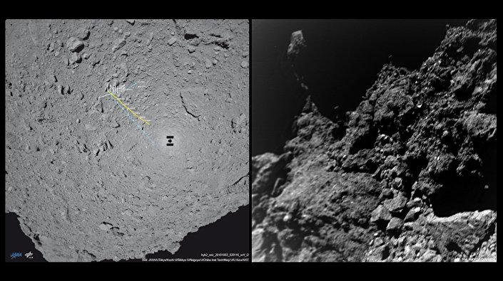 Mapa com deslocações (à esquerda) e a primeira foto transmitida pelo rover MASCOT desde o asteroide Ryugu