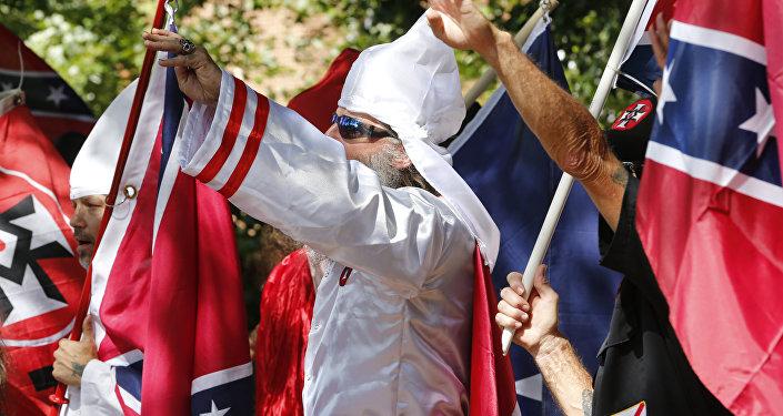 Manifestação da KKK em Charlottesville, em julho de 2017.