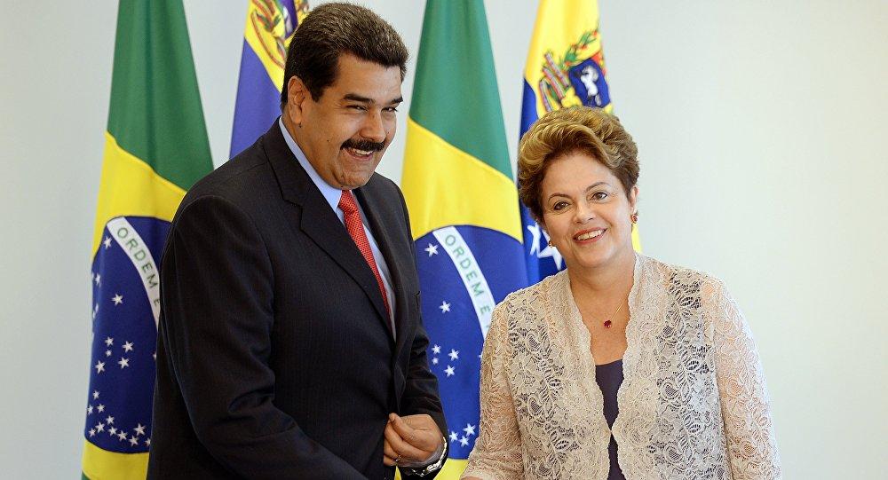 Presidente da Venezuela Nicolás Maduro com a presidente do Brasil Dilma Rousseff