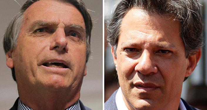 Candidatos à Presidência do Brasil: Jair Bolsonaro (esq.) e Fernando Haddad (dir.)