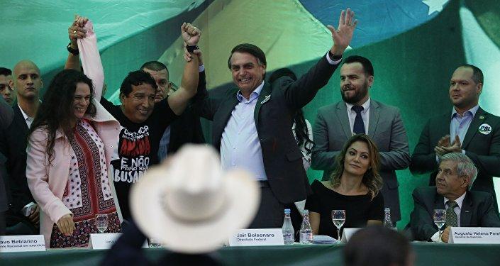 Jair Bolsonaro em lançamento de sua candidatura pelo PSL