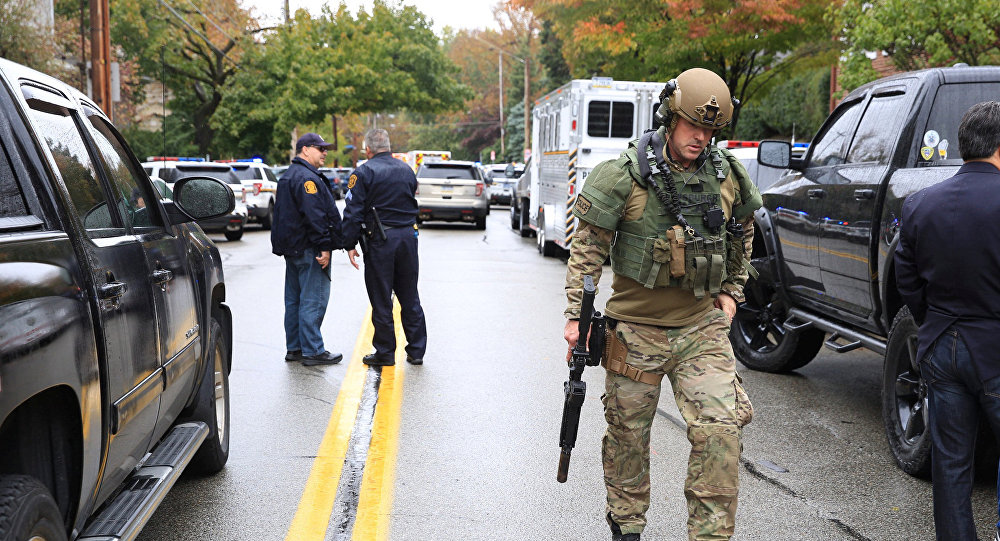Police officers respond after a gunman opened fire at the Tree of Life synagogue in Pittsburgh Pennsylvania.