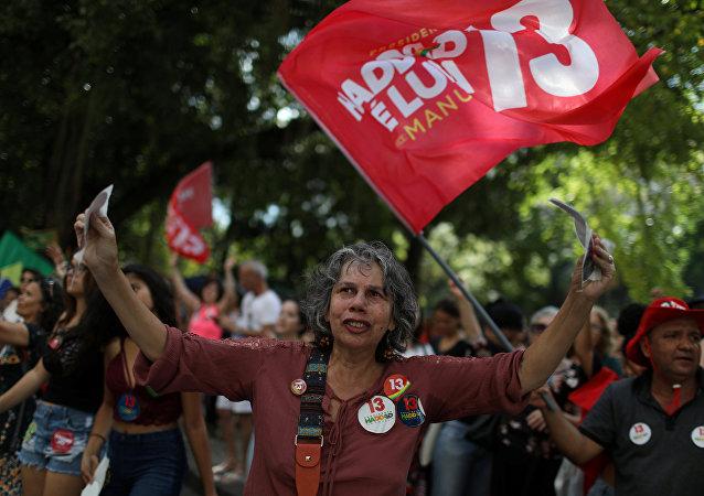 Apoiadores de Haddad durante uma manifestação no Rio de Janeiro, em 27 de outubro de 2018