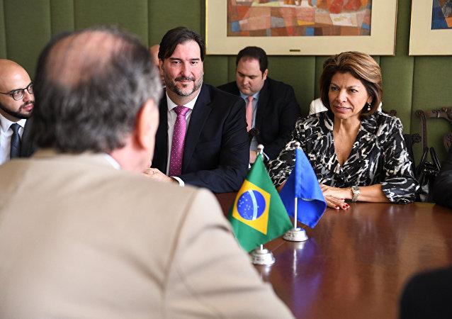 A presidente da Missão de Observação Eleitoral da Organização dos Estados Americanos e ex-presidente da Costa Rica, Laura Chinchilla visita o Itamaraty.