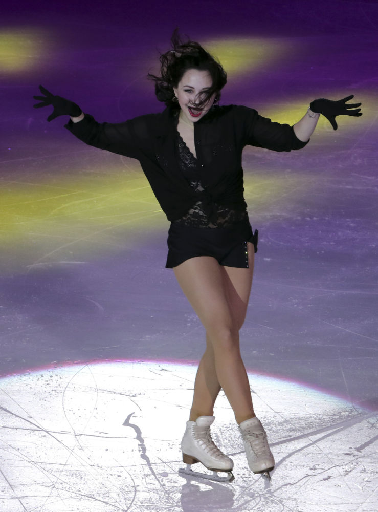 Atleta russa Elizaveta Tuktamysheva participando do Grand Prix de Patinação Artística em Pequim, na China