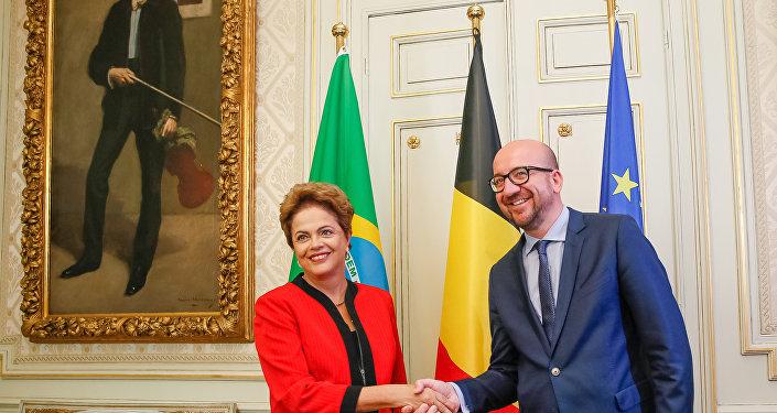Presidenta Dilma Rousseff durante encontro com primeiro-ministro da Bélgica, Charles Michel