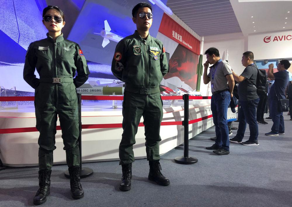 Estande da empresa estatal chinesa AVIC na Exposição Internacional de Aviação & Aeroespacial da China 2018
