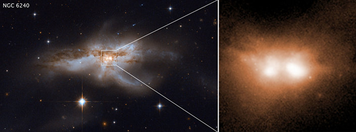 Colisão de dois buracos negros supermassivos de duas galáxias próximas à nossa