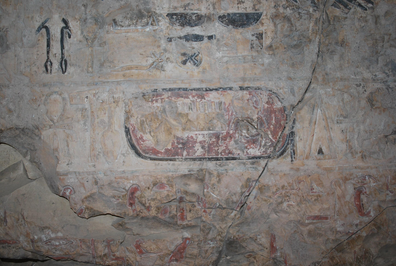 Cartucho real com o nome do Faraó Tutmosis III.