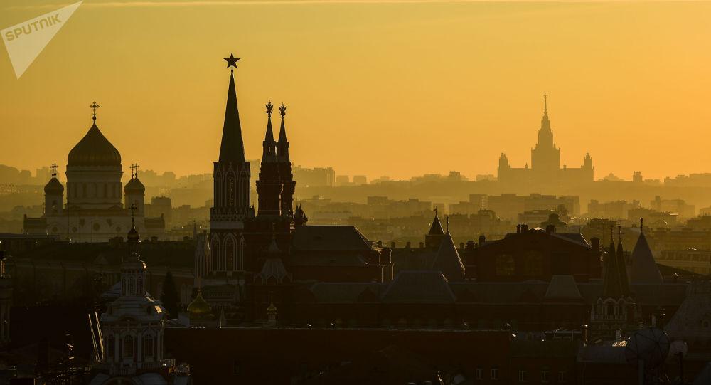 Vista de Moscou, capturada do telhado de um dos centros comerciais no centro da cidade