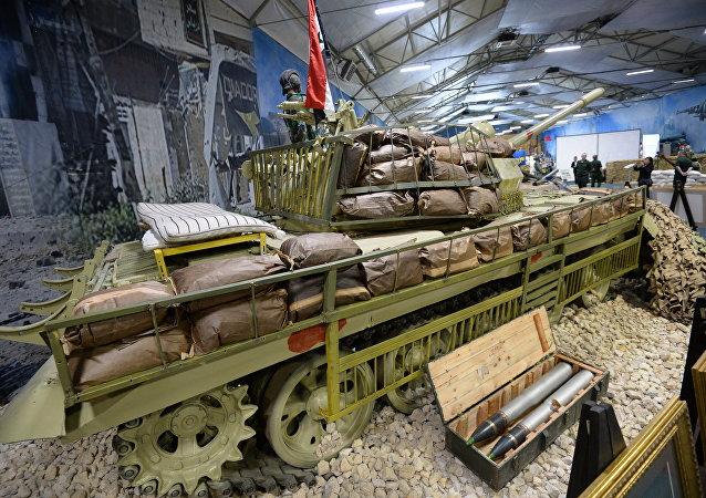 Parte da exposição EXÉRCITO 2018 dedicada à guerra síria no parque Patriot, em Moscou