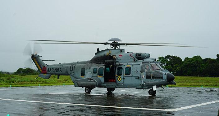 O helicóptero eurocopter EC 725 Super Cougar também participou da Operação Atlântico