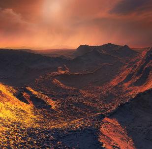 Imagem de computador do possível planeta detectado perto da estrela de Bernard