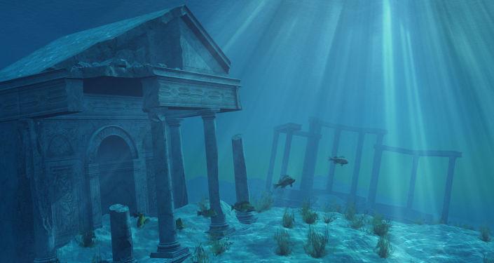 Representação digital de ruínas de uma antiga civilização misteriosa inundada (imagem referencial)