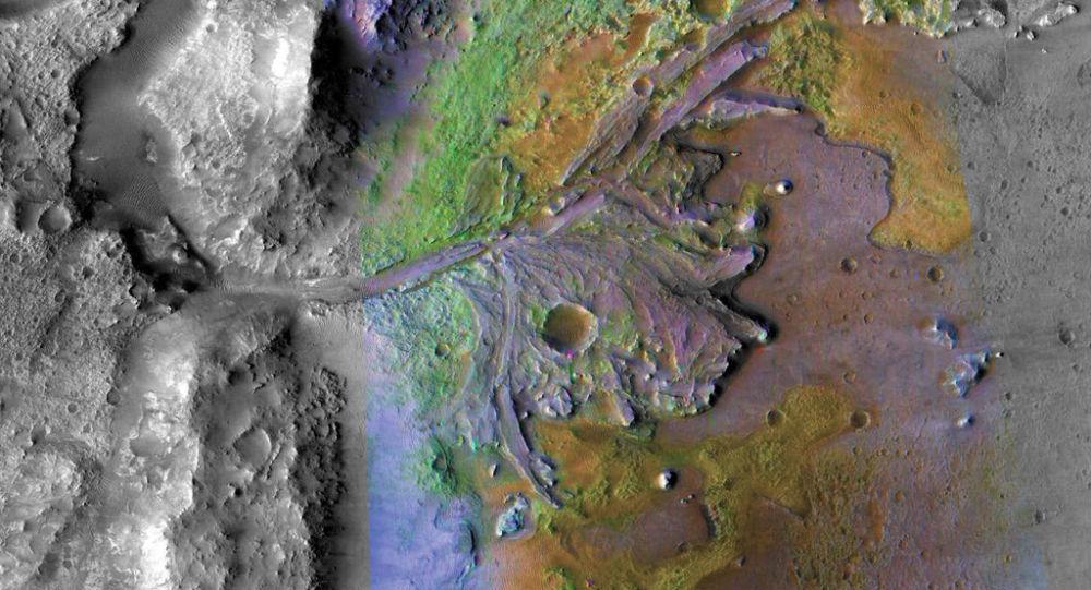 Cratera Jezero em Marte, onde existem indícios de água