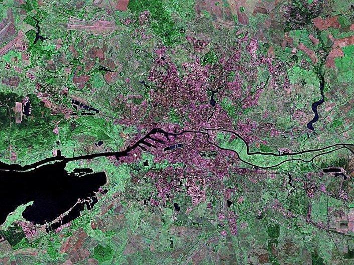 Vista de satélite de Kaliningrado, Rússia