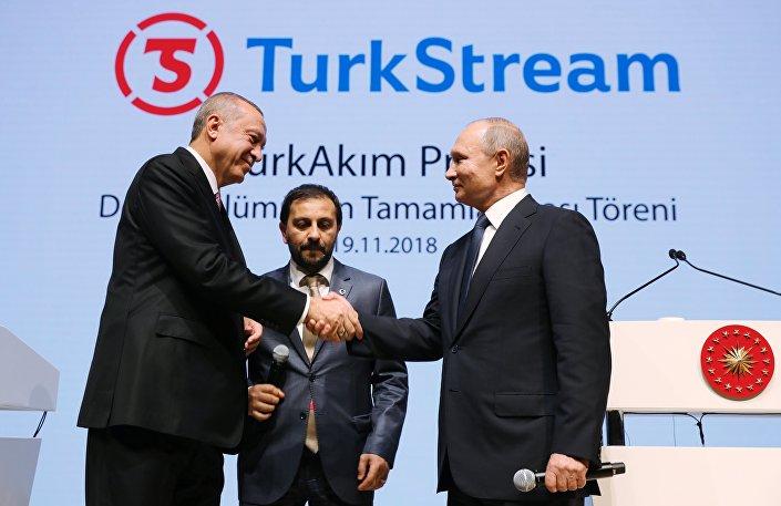 Presidente da Rússia Vladimir Putin e presidente da Turquia (à esquerda) tomam parte da cerimônia de finalização da construção da seção submarina do gasoduto Turkish Stream, em 19 de novembro de 2018