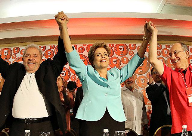 Dilma Rousseff e Lula durante o 5º Congresso Nacional do PT, em Salvador