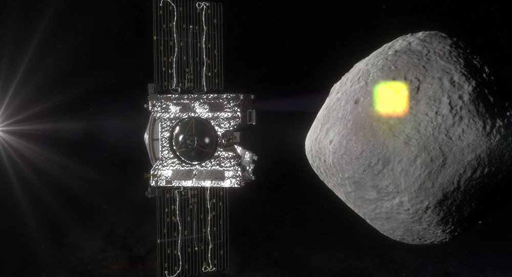 Imagem artística mostra mapeamento do asteroide Bennu pela sonda da NASA OSIRIS-REx