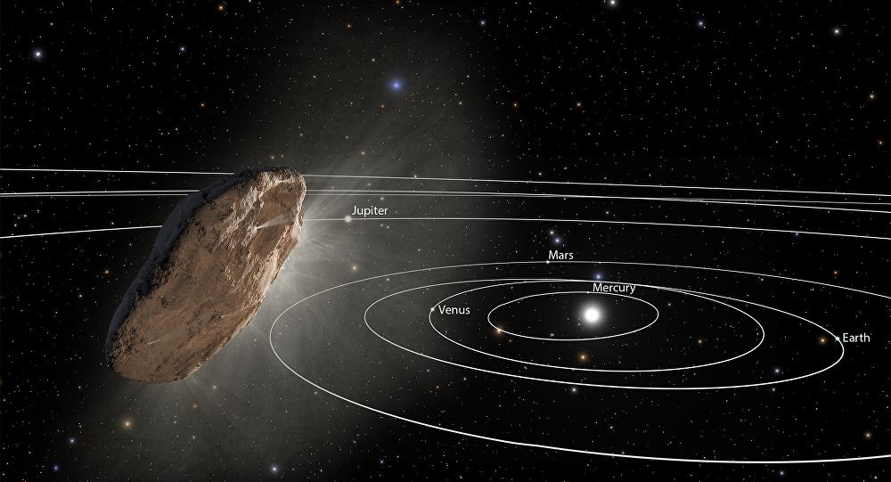 Ilustração mostra asteroide Oumuamua indo na direção à periferia do Sistema Solar (imagem ilustrativa)