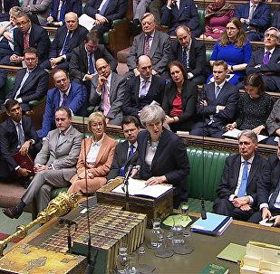 A primeira-ministra britânica Theresa May faz último discurso na Câmara dos Comuns, em Londres antes da votação final sobre o acordo do Reino Unido com a União Europeia pelo Brexit.