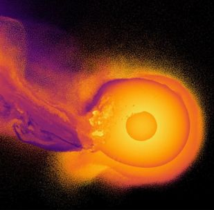 Simulação em computador da colisão do planeta Urano com um planeta desconhecido alguns bilhões de anos atrás