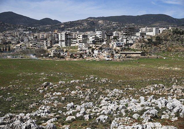 Vista da cidade de Masyaf, na província de Hama, na Síria