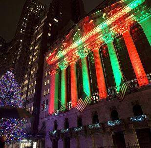 A fachada da Bolsa de Valores de Nova York.
