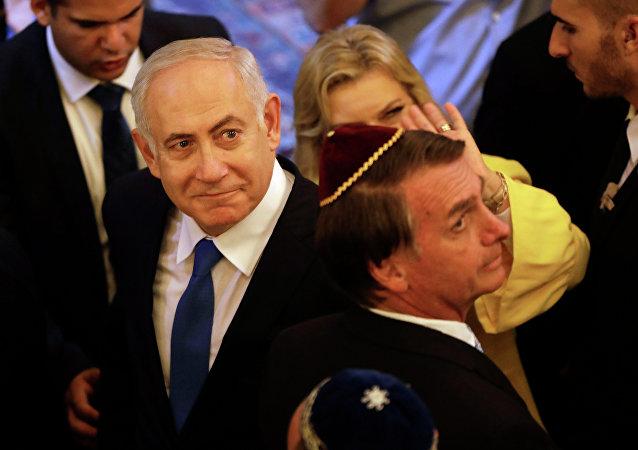 Netanyahu e Bolsonaro durante encontro em uma sinagoga no Rio de Janeiro