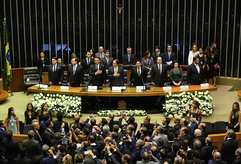 Cerimônia de tomada de posse do presidente da República eleito, Jair Bolsonaro, no Congresso Nacional, em 1 de janeiro de 2019