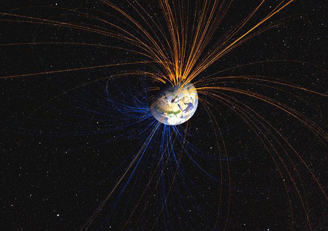Campo magnético da Terra (imagem de arquivo)