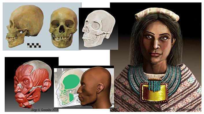 Reconstrução da fisionomia de mulher inca do século XVI